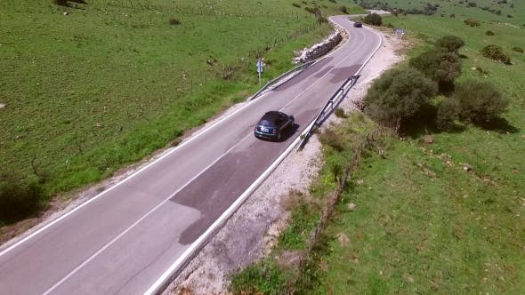 Thumbnail for Aerial View Of The Road With Driving Car