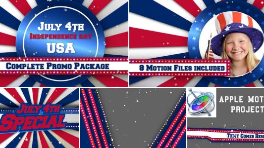 Thumbnail for July 4th USA Patriotic Broadcast Promo Pack - Apple Motion