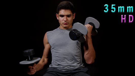 Thumbnail for Young Man Working Out With Dumbbells 18