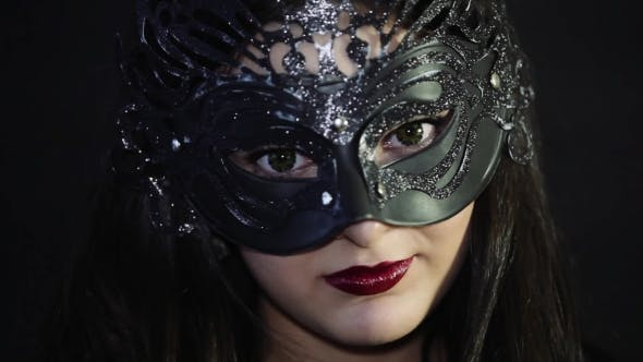 Thumbnail for Beautiful Girl In a Mask With Red Lips