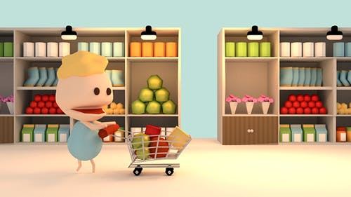 3D Cartoon Grocery Shopping In Supermarket