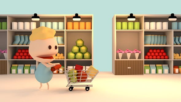 Thumbnail for 3D Cartoon Grocery Shopping In Supermarket