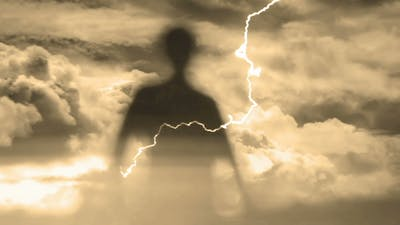 Ghost Silhouette And Lightning Storm