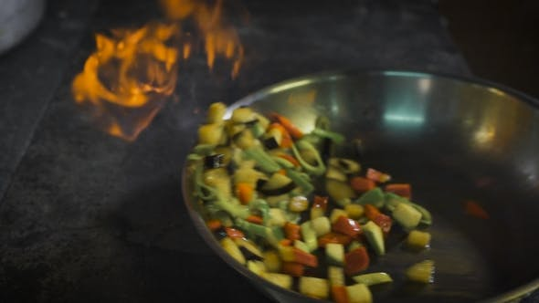 Thumbnail for Chef Frying Vegetables