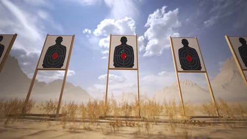 Shooting range with target riddling by bullets. Training practice or competition