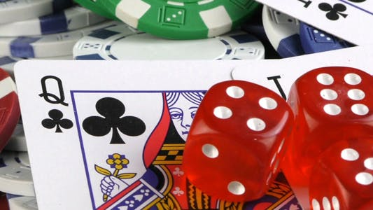 Thumbnail for Gambling Red Dice Poker Cards and Money Chips 4