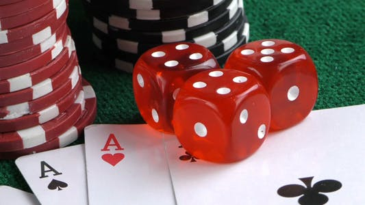 Thumbnail for Gambling Red Dice Poker Cards and Money Chips 7