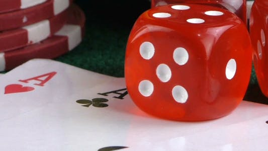 Thumbnail for Gambling Red Dice Poker Cards and Money Chips 8