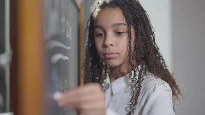 Serious Concentrated Lefthanded Schoolgirl Writing with Chalk on Blackboard in Classroom