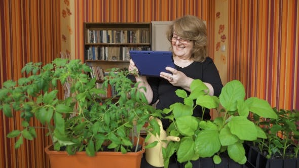 Thumbnail for Woman Or Gardener With Tablet Pc Computer.