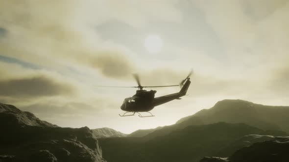 Slow Motion United States Military Helicopter in Vietnam