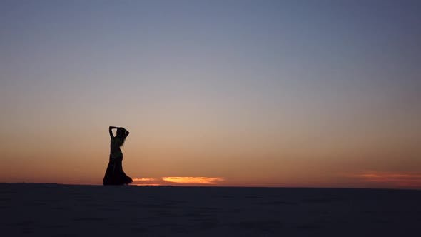 Thumbnail for Graceful Movements of a Dancer, Dancing Belly Dance While on the Beach. Silhouettes