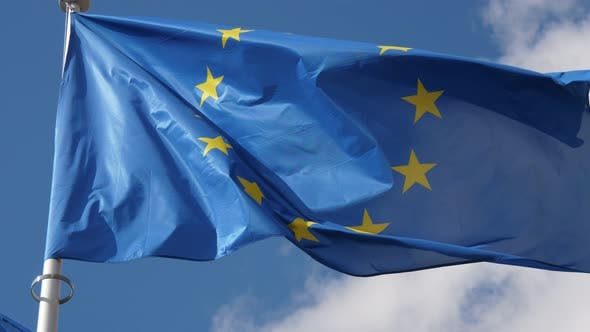 Cover Image for Huge European Union Banner Flying Proudly on a Flagpole in Brussels in Spring