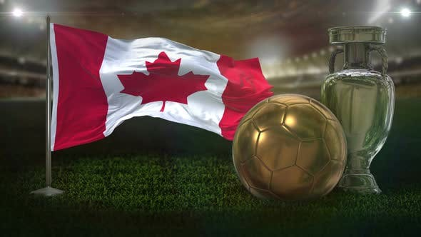 Canada Flag With Football And Cup Background Loop
