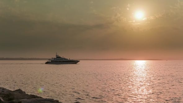 Thumbnail for Superyacht Sailing Into The Sunset.