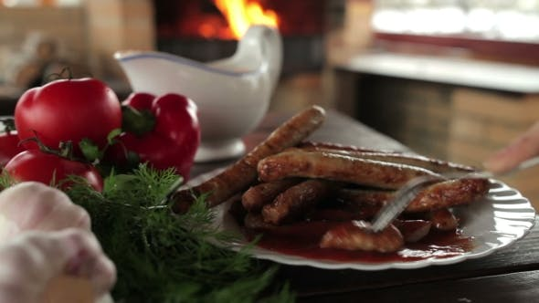 Thumbnail for Appetizing Grilled Sausages With Vegetables On a Plate