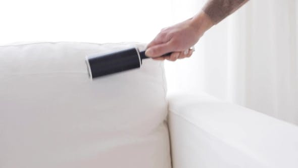 Thumbnail for Woman With Sticky Roller Cleaning Sofa Upholstery 6