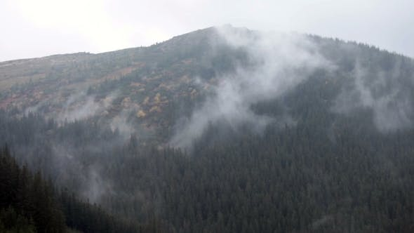 Thumbnail for Mountain Landscape. Nature.  Fog Clouds.