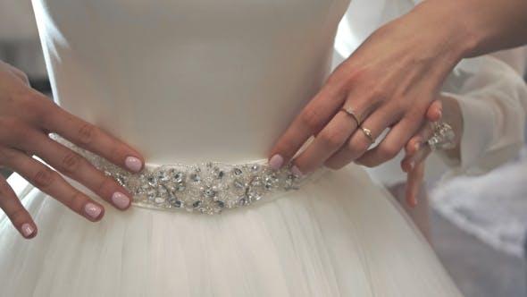 Thumbnail for Detail Of Designer Luxury Wedding Dress