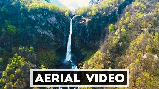 Thumbnail for Aerial Video of a Tropical Waterfall in Southern Switzerland