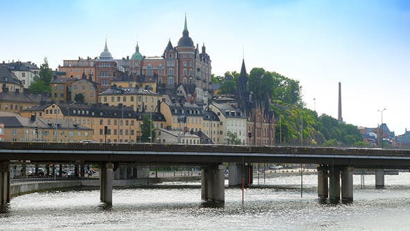 Thumbnail for Stockholm Old City View with Metro Passing, Sweeden