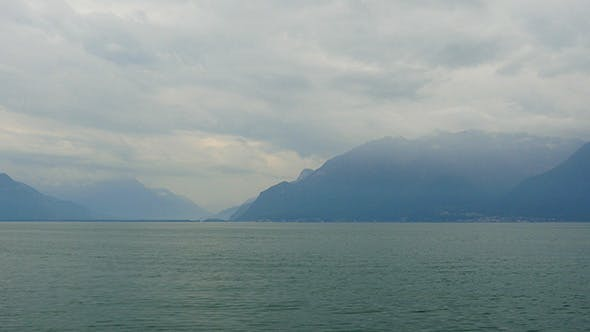 Thumbnail for Geneva Lake and Alps View in France and Swiss Border
