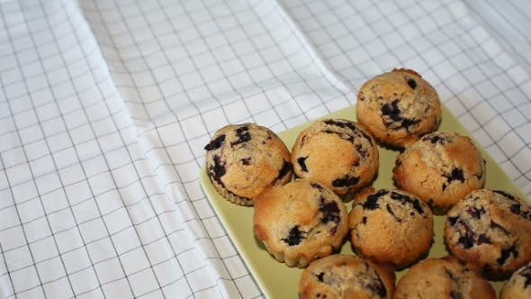 Thumbnail for Homemade Wholegrain Muffins With Blueberry On a White Plate