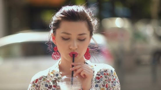 Thumbnail for Sexy Hot Woman Drinking Shake On Sunny Day