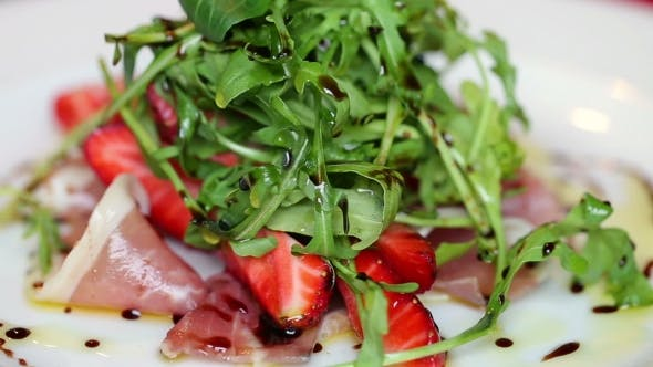 Thumbnail for Arugula With Strawberries And Slices Of Ham In Sweet Sauce