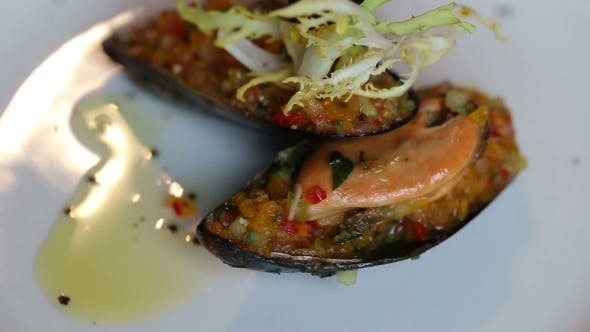 Thumbnail for Mussels Stuffed With Vegetables. Colorful Beautiful Dish Decorated With Verdure
