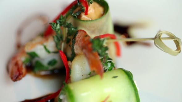Thumbnail for The Finished Dish Is Shrimp With Cucumber