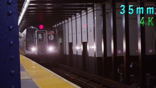Thumbnail for Subway Train Arrives at Platform in Manhattan New York 02