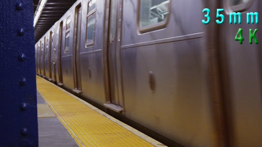 Thumbnail for Subway Train Leaving at Platform in Manhattan New York 03