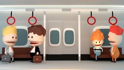 Cartoon Businessmen Talking On The Subway