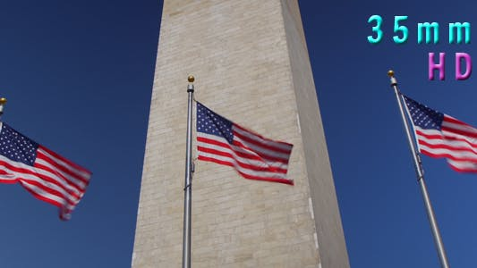 Cover Image for Washington Monument With American Flags 16