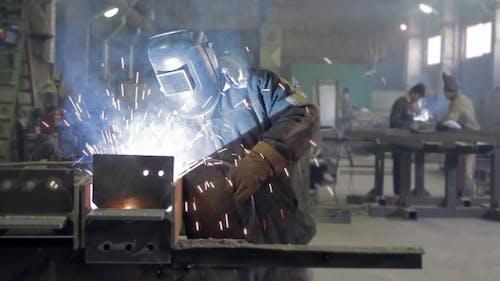 Welding Light On a Worker