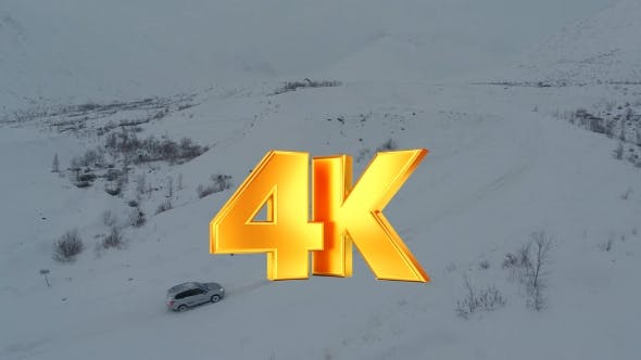 Thumbnail for Car On Heavy Snowy Road In Mountains, Aerial View
