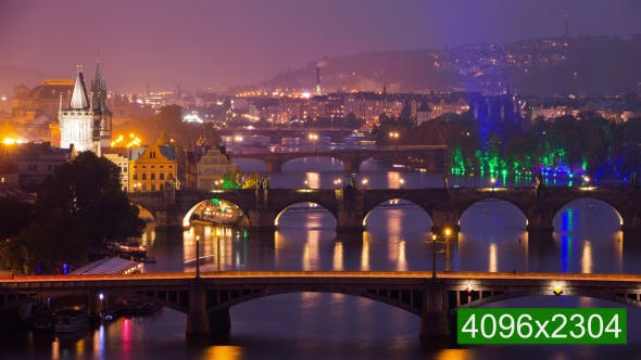 The Famous Bridges of Prague in the Evening