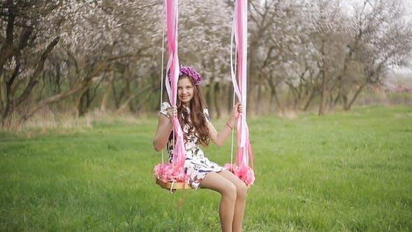 Thumbnail for Little Girl on the Swing, Little Girl at Park, Cute Little Girl