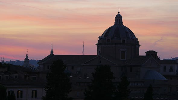 Thumbnail for Silhouette Dome, Sunset in Rome, Italy