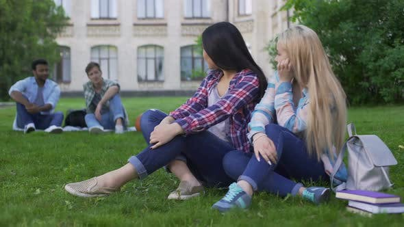 Cover Image for Girls Students Looking at Guys and Flirting, Teens Sitting on Lawn Near College
