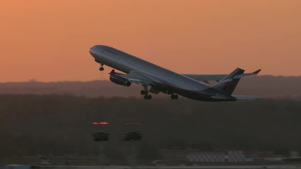 Thumbnail for Aeroflot Airliner A330 Taking Off at Sunset