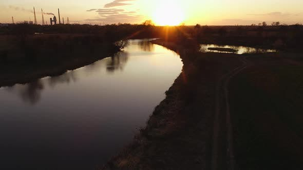Thumbnail for Wild River on Sunset in Ukraine