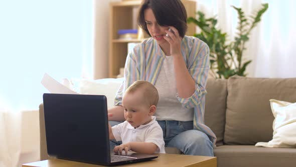 Thumbnail for Working Mother with Baby Calling on Smartphone