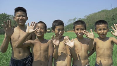 Kids Bye Bye At Rice Field