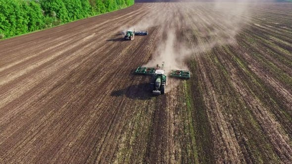 Cover Image for Two Tractor Seeded Field. Aerial Survey