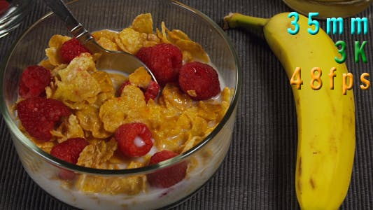 Thumbnail for Breakfast Scene Top View Cereal Raspberry Banana 19
