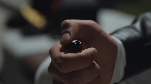 Close Up Shot of Male Hand Playing with Gas Lighter, Guy Igniting Fire for Smoking