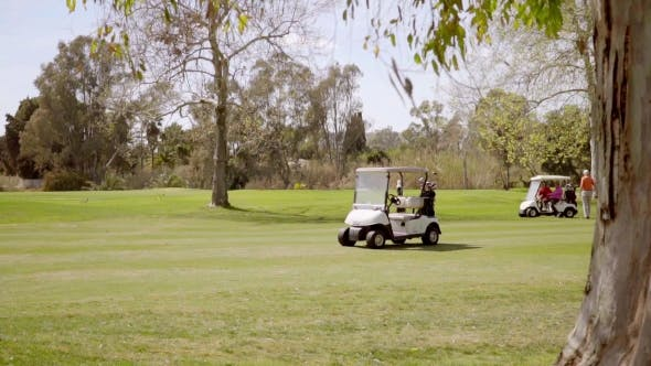 Thumbnail for Two Golfing Buggies Or Carts On a Golf Course