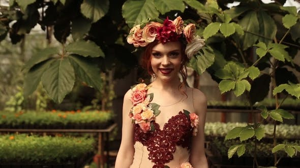 Thumbnail for Beautiful Red-haired Girl In Plants